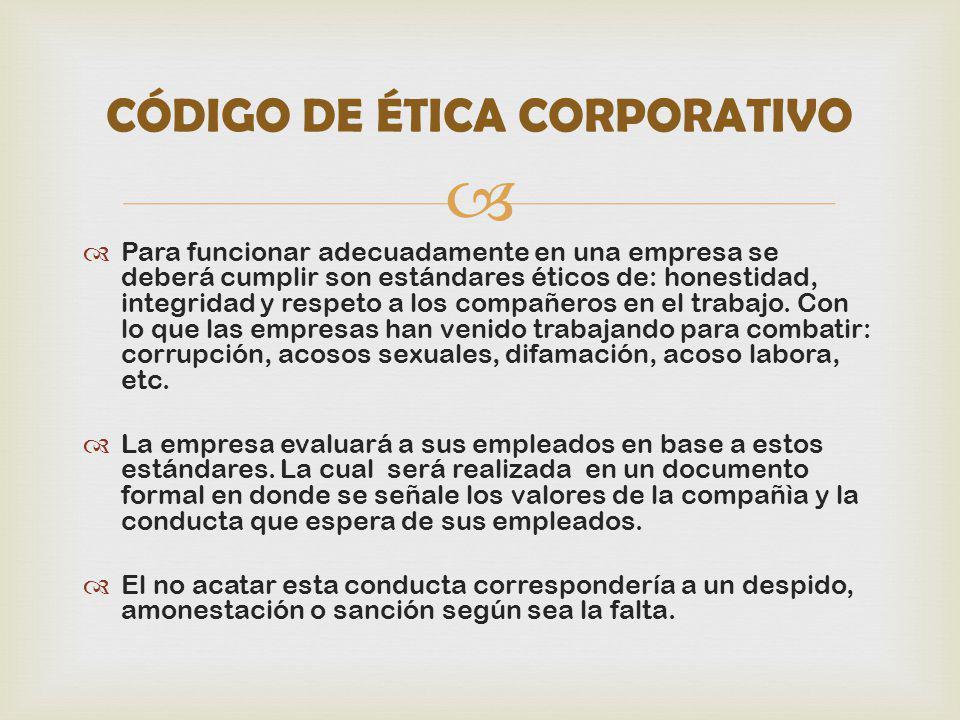 Para funcionar adecuadamente en una empresa se deberá cumplir son estándares éticos de: honestidad, integridad y respeto a los compañeros en el trabaj
