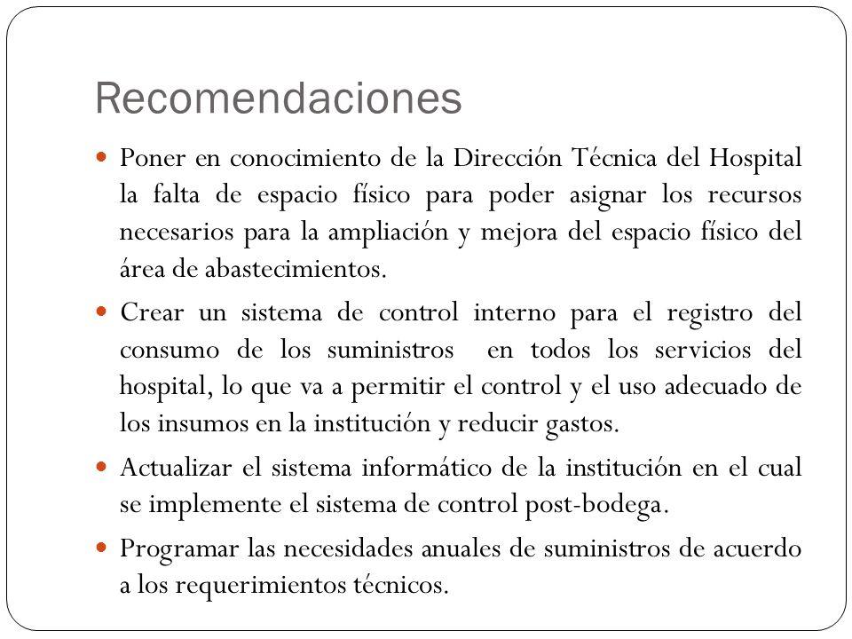 Recomendaciones Poner en conocimiento de la Dirección Técnica del Hospital la falta de espacio físico para poder asignar los recursos necesarios para la ampliación y mejora del espacio físico del área de abastecimientos.