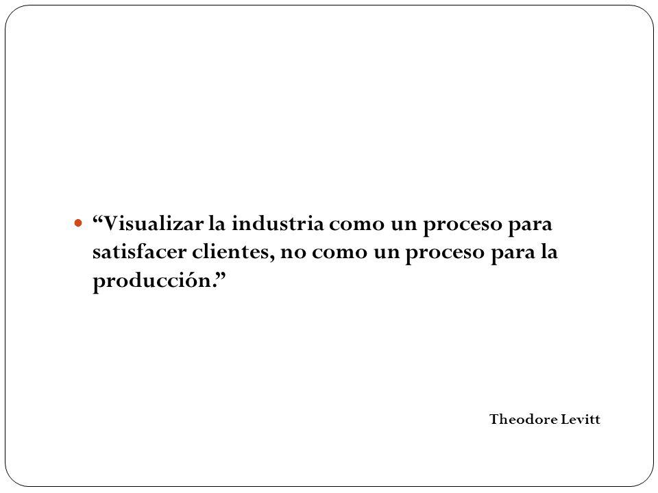 Visualizar la industria como un proceso para satisfacer clientes, no como un proceso para la producción.