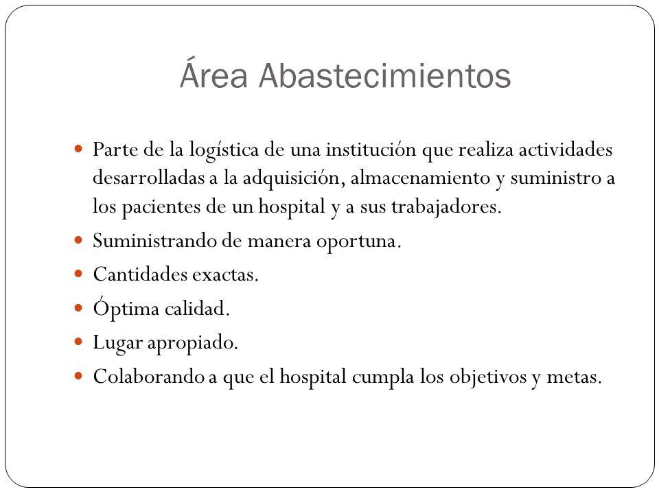 Área Abastecimientos Parte de la logística de una institución que realiza actividades desarrolladas a la adquisición, almacenamiento y suministro a los pacientes de un hospital y a sus trabajadores.
