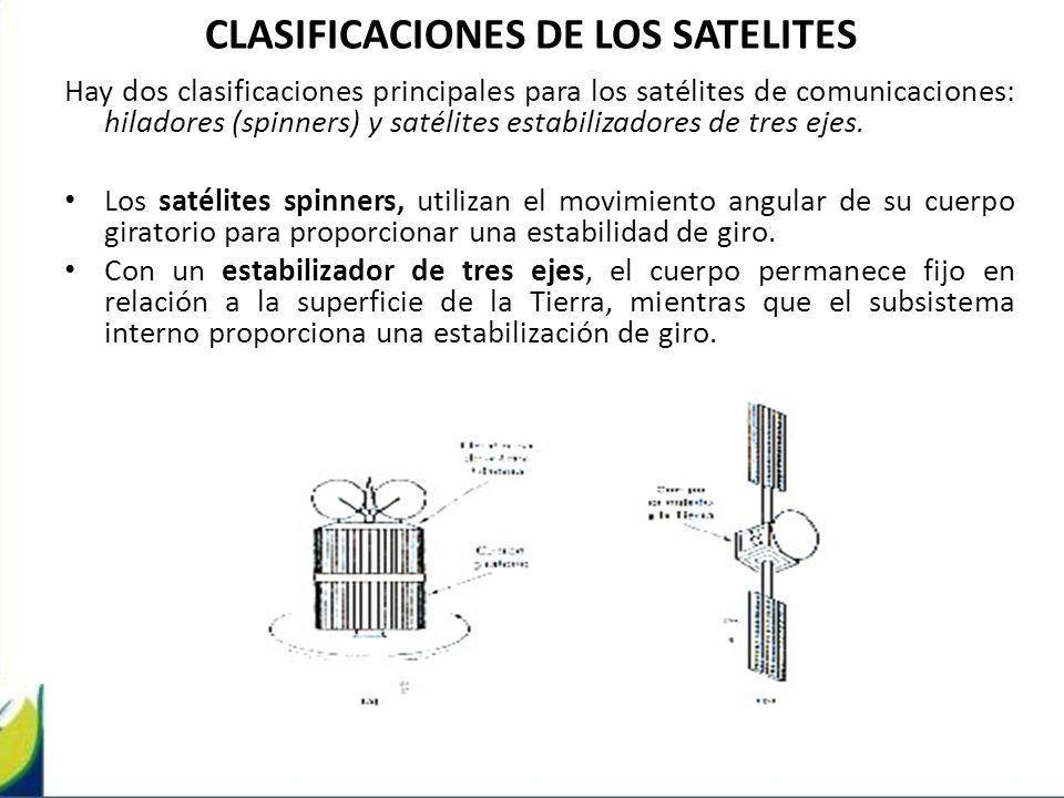 CLASIFICACIONES DE LOS SATELITES Hay dos clasificaciones principales para los satélites de comunicaciones: hiladores (spinners) y satélites estabiliza