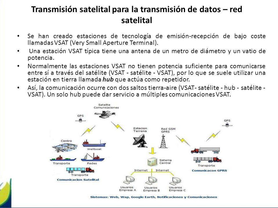 Transmisión satelital para la transmisión de datos – red satelital Se han creado estaciones de tecnología de emisión-recepción de bajo coste llamadas
