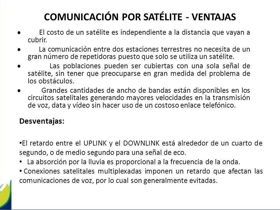 COMUNICACIÓN POR SATÉLITE - VENTAJAS El costo de un satélite es independiente a la distancia que vayan a cubrir. La comunicación entre dos estaciones