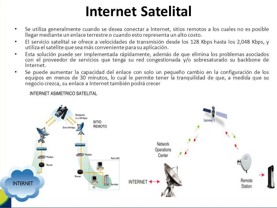 Internet Satelital Se utiliza generalmente cuando se desea conectar a Internet, sitios remotos a los cuales no es posible llegar mediante un enlace te