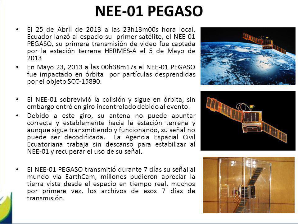NEE-01 PEGASO El 25 de Abril de 2013 a las 23h13m00s hora local, Ecuador lanzó al espacio su primer satélite, el NEE-01 PEGASO, su primera transmisión