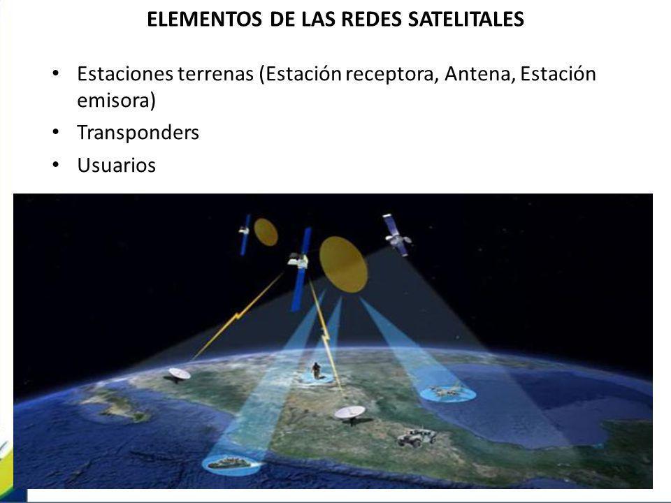 ELEMENTOS DE LAS REDES SATELITALES Estaciones terrenas (Estación receptora, Antena, Estación emisora) Transponders Usuarios