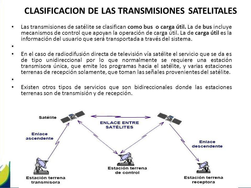 CLASIFICACION DE LAS TRANSMISIONES SATELITALES Las transmisiones de satélite se clasifican como bus o carga útil. La de bus incluye mecanismos de cont