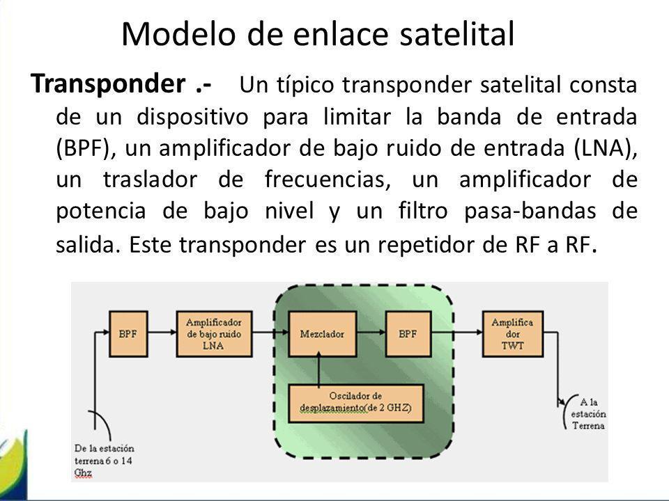 Transponder.- Un típico transponder satelital consta de un dispositivo para limitar la banda de entrada (BPF), un amplificador de bajo ruido de entrad