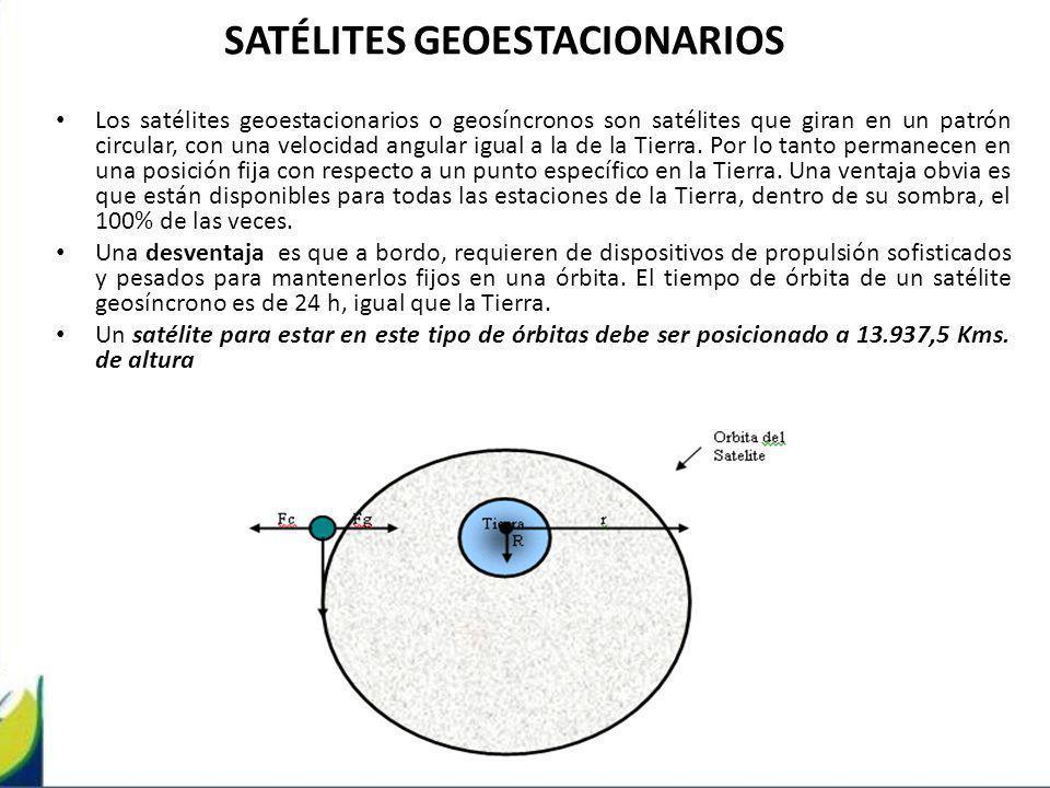 SATÉLITES GEOESTACIONARIOS Los satélites geoestacionarios o geosíncronos son satélites que giran en un patrón circular, con una velocidad angular igua