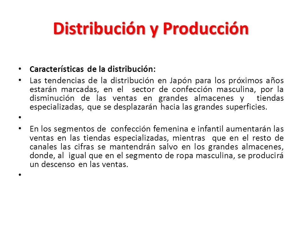 Distribución y Producción Características de la distribución: Las tendencias de la distribución en Japón para los próximos años estarán marcadas, en e