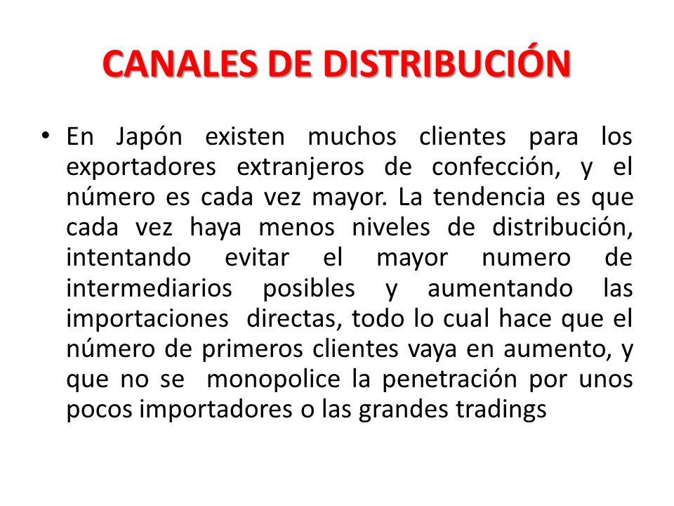 CANALES DE DISTRIBUCIÓN En Japón existen muchos clientes para los exportadores extranjeros de confección, y el número es cada vez mayor. La tendencia