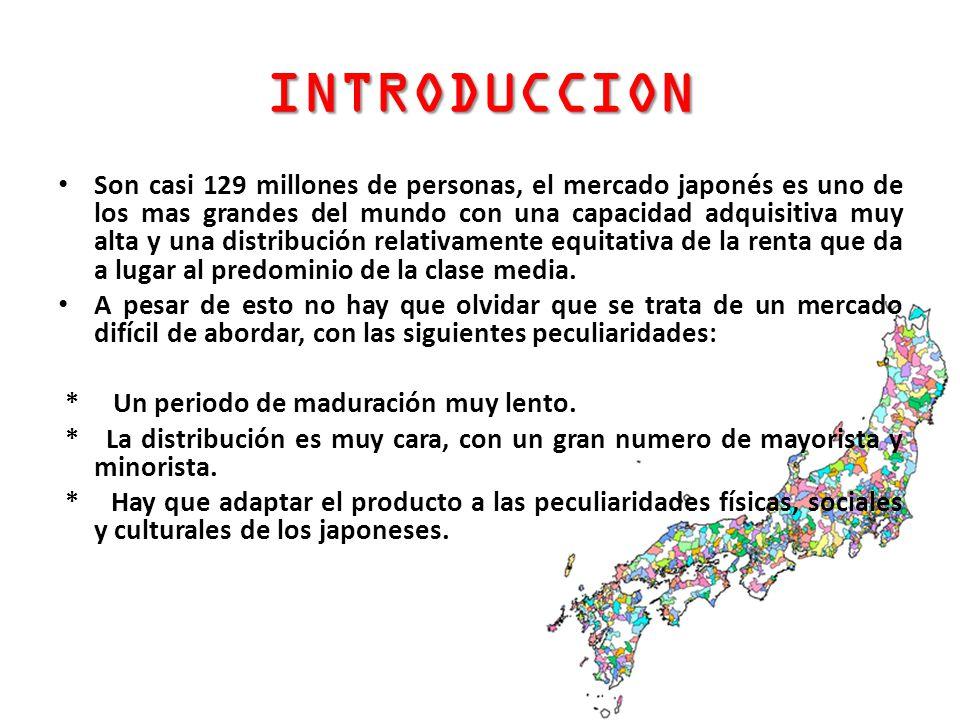 INTRODUCCION Son casi 129 millones de personas, el mercado japonés es uno de los mas grandes del mundo con una capacidad adquisitiva muy alta y una di