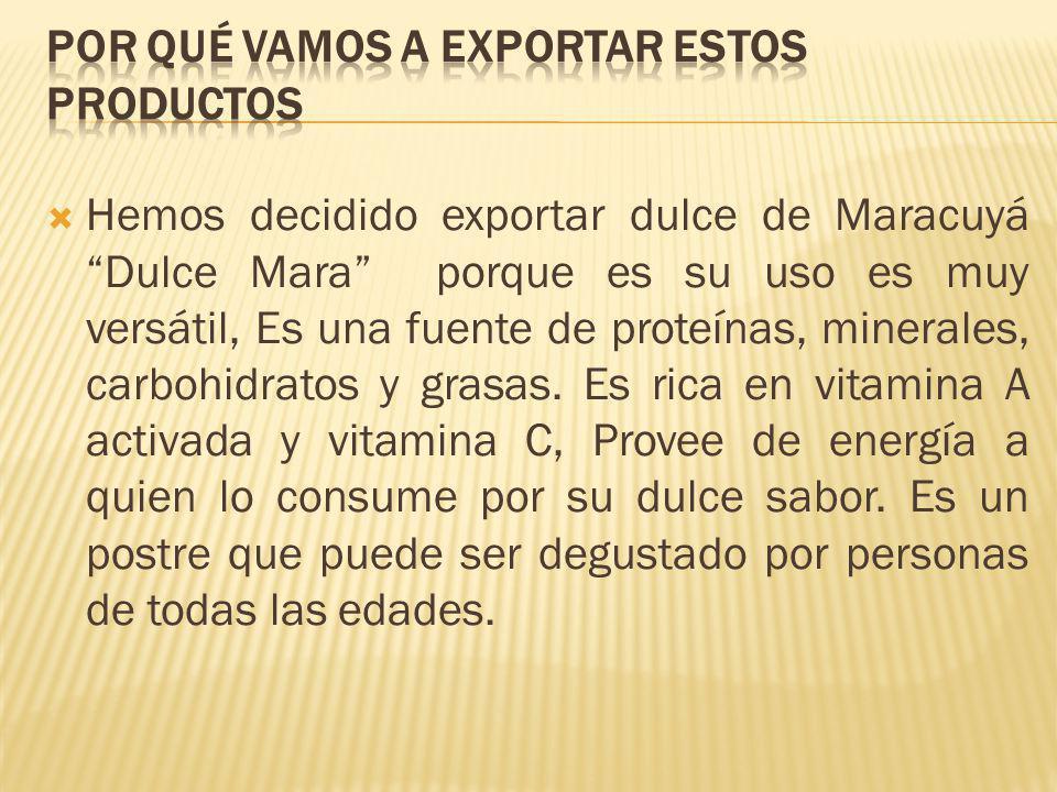 Hemos decidido exportar dulce de Maracuyá Dulce Mara porque es su uso es muy versátil, Es una fuente de proteínas, minerales, carbohidratos y grasas.
