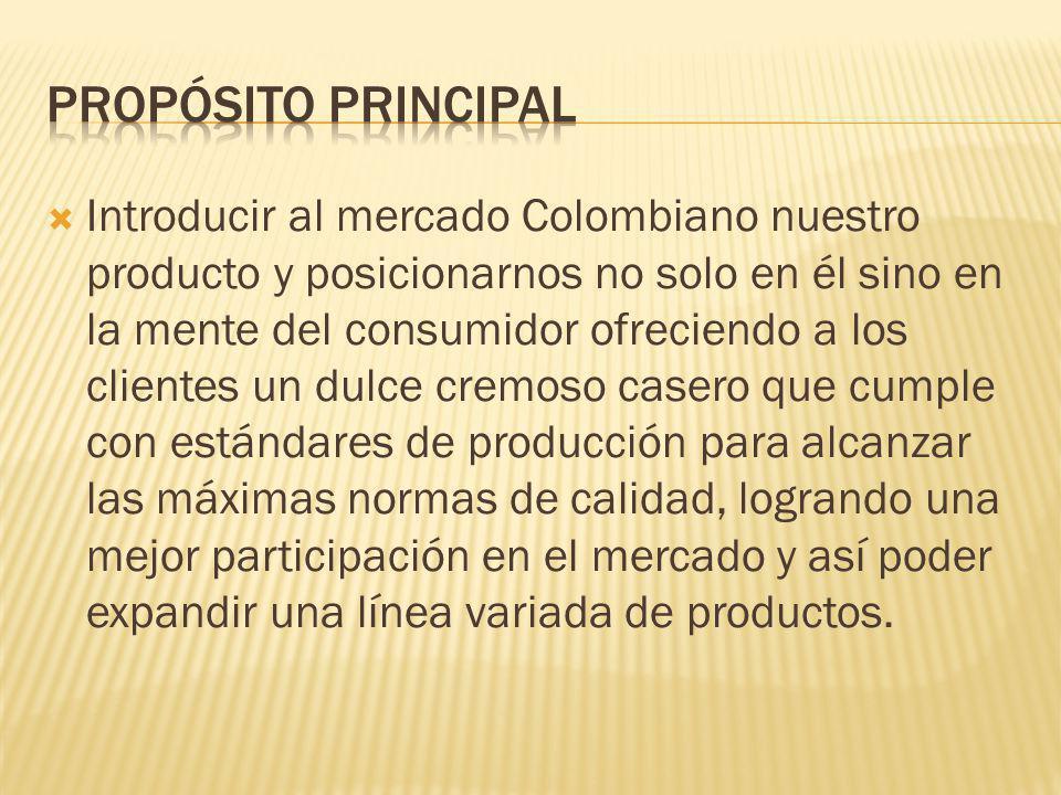 Introducir al mercado Colombiano nuestro producto y posicionarnos no solo en él sino en la mente del consumidor ofreciendo a los clientes un dulce cre