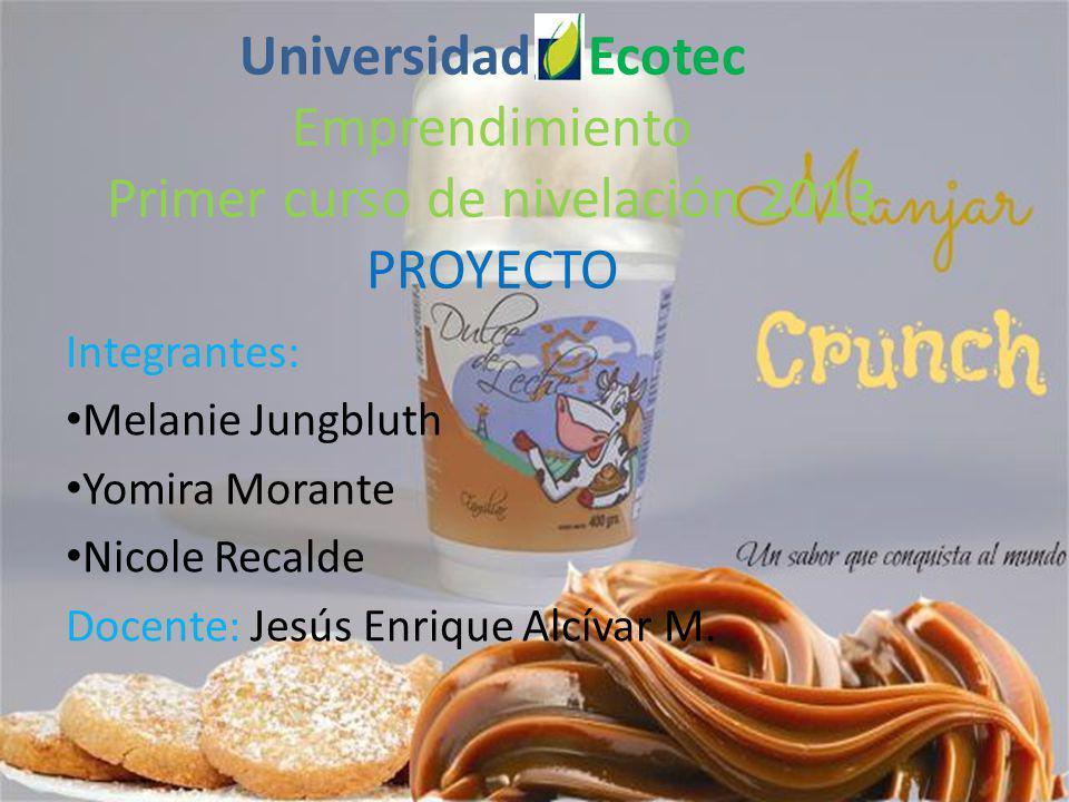Universidad Ecotec Emprendimiento Primer curso de nivelación 2013 PROYECTO Integrantes: Melanie Jungbluth Yomira Morante Nicole Recalde Docente: Jesús Enrique Alcívar M.