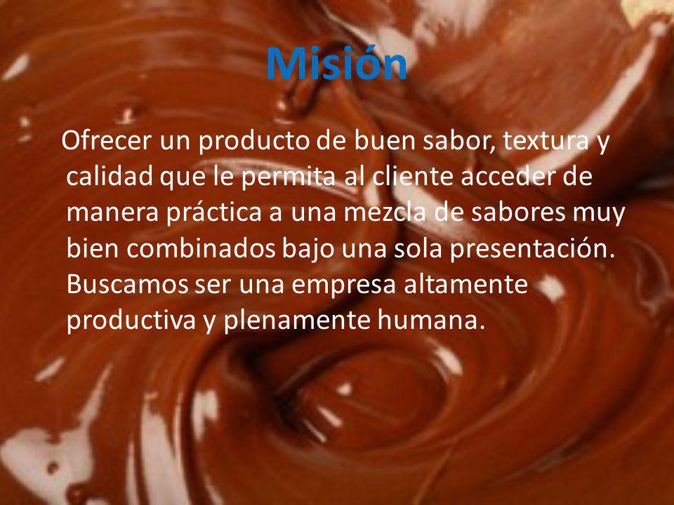 Misión Ofrecer un producto de buen sabor, textura y calidad que le permita al cliente acceder de manera práctica a una mezcla de sabores muy bien combinados bajo una sola presentación.