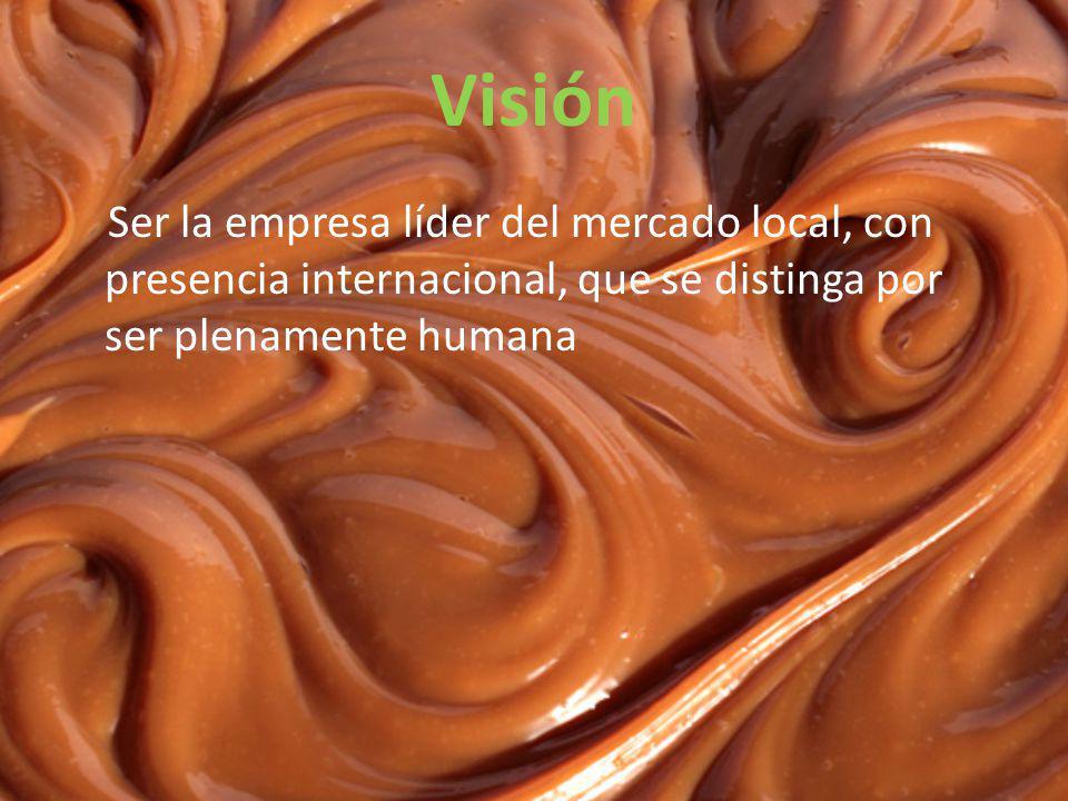 Visión Ser la empresa líder del mercado local, con presencia internacional, que se distinga por ser plenamente humana