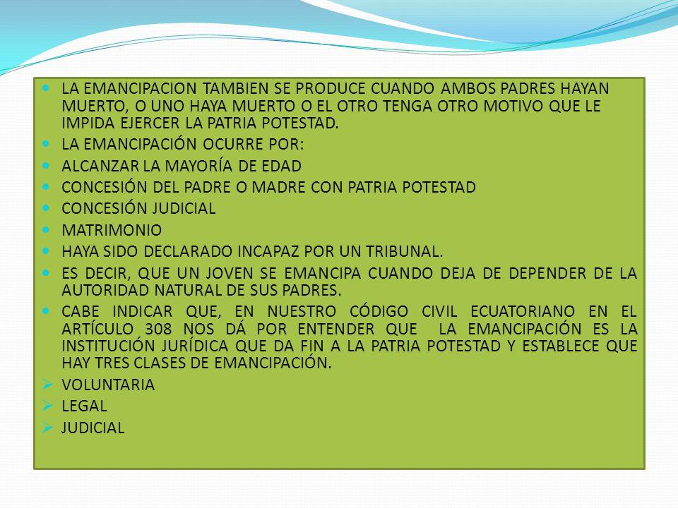 TIPOS DE EMANCIPACION VOLUNTARIALEGALJUDICIAL