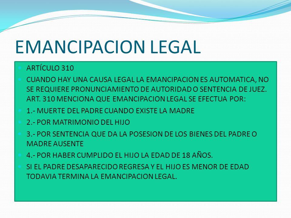 EMANCIPACION JUDICIAL ARTÍCULO 311.- LA EMANCIPACIÓN JUDICIAL SE EFECTÚA POR SENTENCIA DEL JUEZ, SI AMBOS PADRES INCURRIERE EN UNO O MÁS DE LOS SIGUIENTES CASOS: 1.CUANDO MALTRATAN HABITUALMENTE AL HIJO, EN TÉRMINOS DE PONER EN PELIGRO SU VIDA, O DE CAUSARLE GRAVE DAÑO; 2.CUANDO HAY; ABANDONADO AL HIJO; 3.CUANDO LA DEPRAVACIÓN LOS HACE INCAPACES DE EJERCER LA PATRIA POTESTAD; Y, 4.SE EFECTÚA, ASIMISMO, LA EMANCIPACIÓN JUDICIAL POR SENTENCIA PASADA AUTORIDAD DE COSA JUZGADA QUE LOS DECLARE CULPADOS DE UN DELITO QUE SE APLIQUE LA PENA DE CUATRO AÑOS DE RECLUSIÓN, U OTRA IGUAL O MAYOR GRAVEDAD.