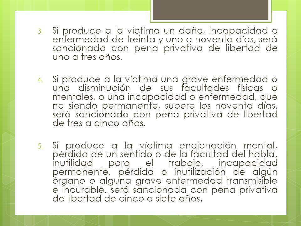 3. Si produce a la víctima un daño, incapacidad o enfermedad de treinta y uno a noventa días, será sancionada con pena privativa de libertad de uno a