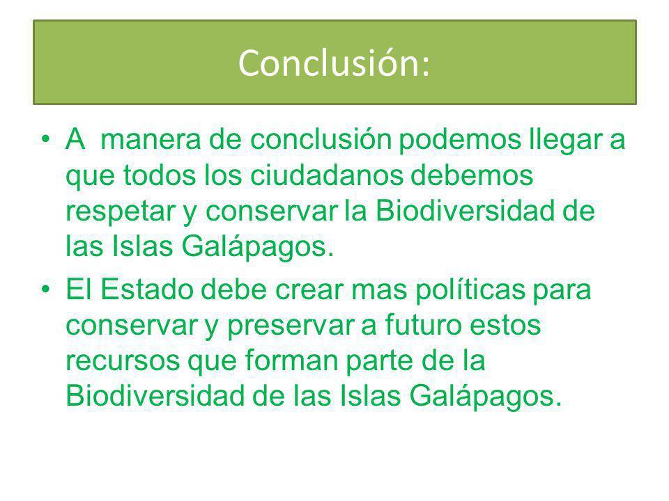 Conclusión: A manera de conclusión podemos llegar a que todos los ciudadanos debemos respetar y conservar la Biodiversidad de las Islas Galápagos. El