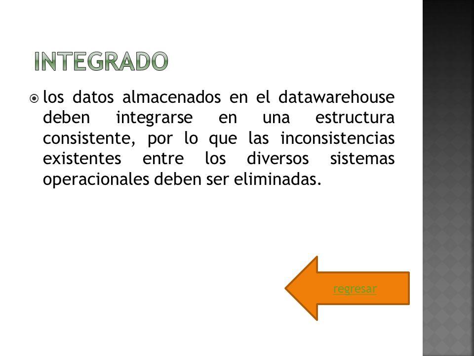 los datos almacenados en el datawarehouse deben integrarse en una estructura consistente, por lo que las inconsistencias existentes entre los diversos