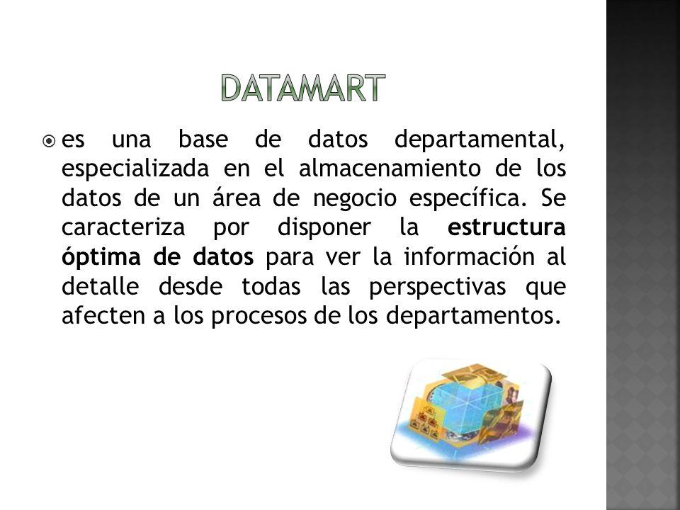 es una base de datos departamental, especializada en el almacenamiento de los datos de un área de negocio específica. Se caracteriza por disponer la e