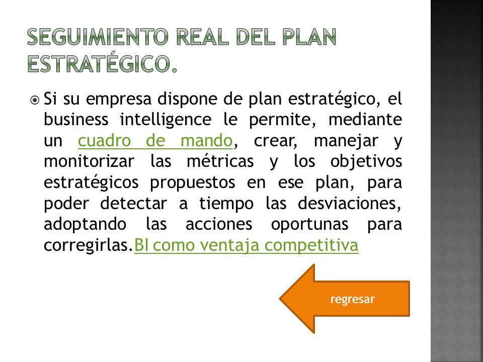 Si su empresa dispone de plan estratégico, el business intelligence le permite, mediante un cuadro de mando, crear, manejar y monitorizar las métricas