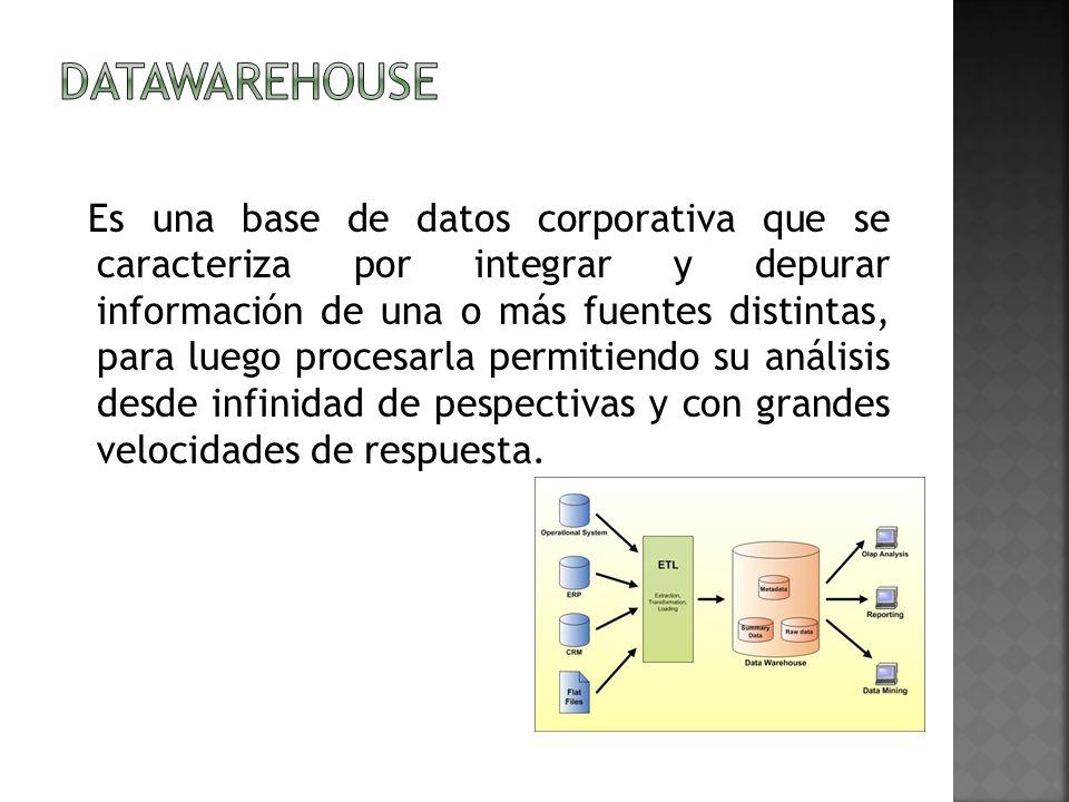 Es una base de datos corporativa que se caracteriza por integrar y depurar información de una o más fuentes distintas, para luego procesarla permitien