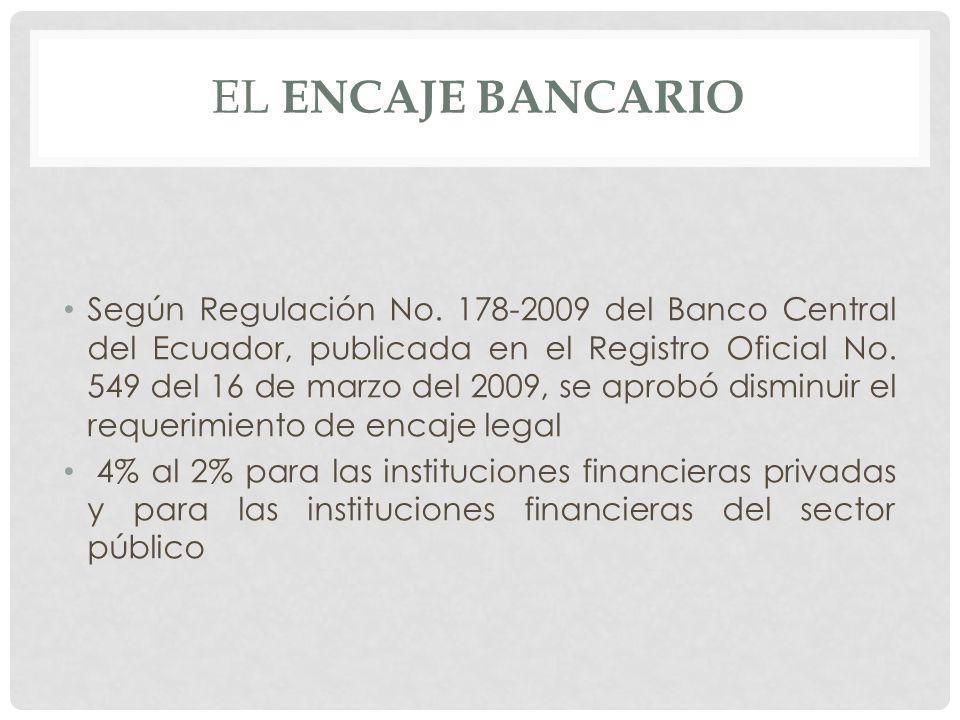 EL ENCAJE BANCARIO Según Regulación No. 178-2009 del Banco Central del Ecuador, publicada en el Registro Oficial No. 549 del 16 de marzo del 2009, se