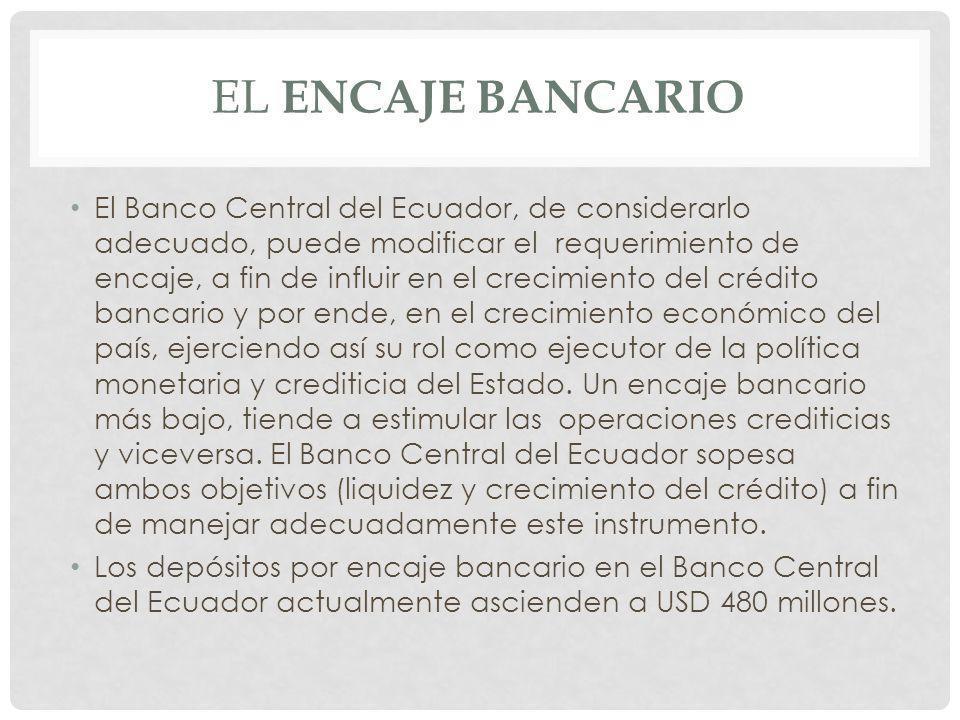 El Banco Central del Ecuador, de considerarlo adecuado, puede modificar el requerimiento de encaje, a fin de influir en el crecimiento del crédito ban