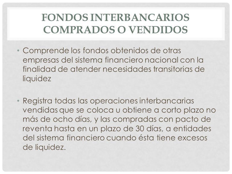 Fondos interbancarios vendidos.- Registra el monto de los fondos que coloca las entidades financieras legalmente autorizadas a corto plazo (no mayor de 8 días) en otras entidades del país, en las cuales el BCE interviene y actúa como intermediario, utilizando el servicio que para el efecto ofrece entre cuentas e instituciones.