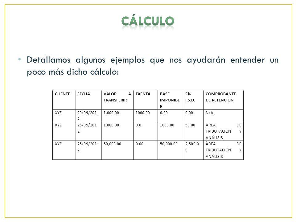 Detallamos algunos ejemplos que nos ayudarán entender un poco más dicho cálculo: CLIENTEFECHA VALOR A TRANSFERIR EXENTA BASE IMPONIBL E 5% I.S.D.