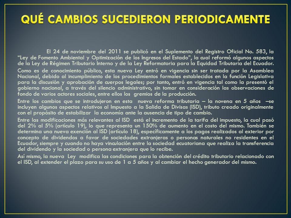 El 24 de noviembre del 2011 se publicó en el Suplemento del Registro Oficial No.