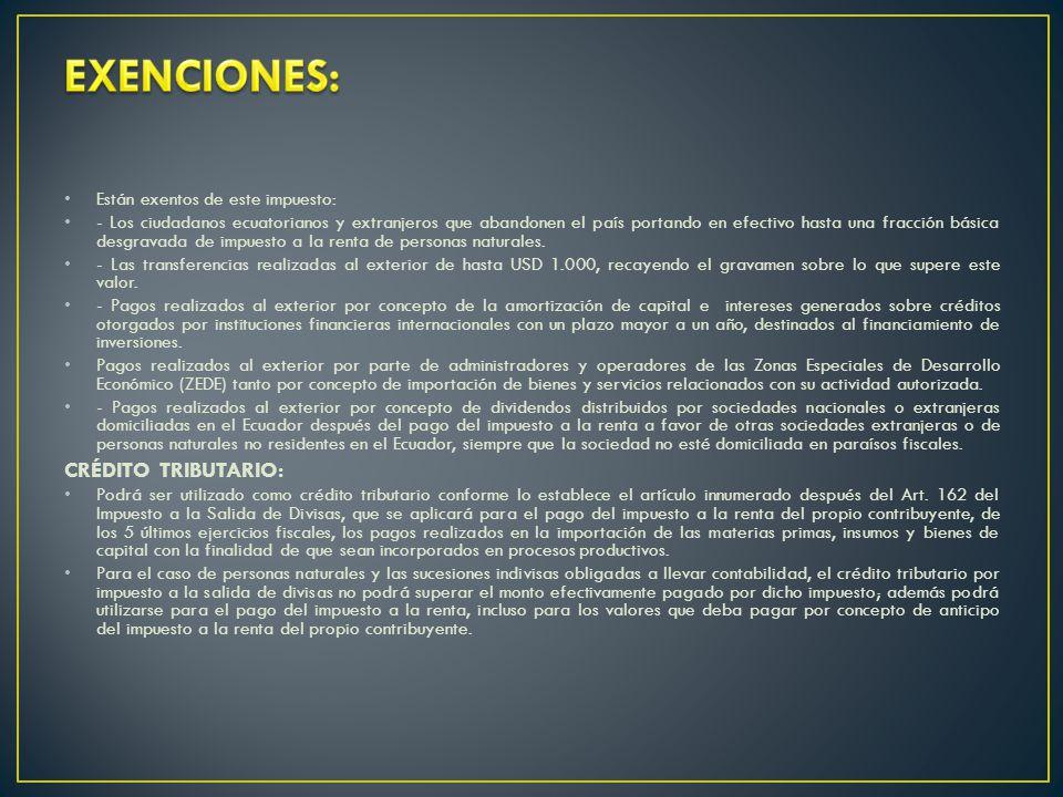 Están exentos de este impuesto: - Los ciudadanos ecuatorianos y extranjeros que abandonen el país portando en efectivo hasta una fracción básica desgravada de impuesto a la renta de personas naturales.