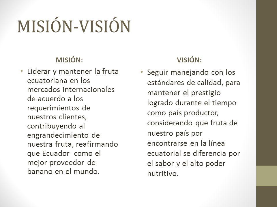 MISIÓN-VISIÓN MISIÓN: Liderar y mantener la fruta ecuatoriana en los mercados internacionales de acuerdo a los requerimientos de nuestros clientes, co
