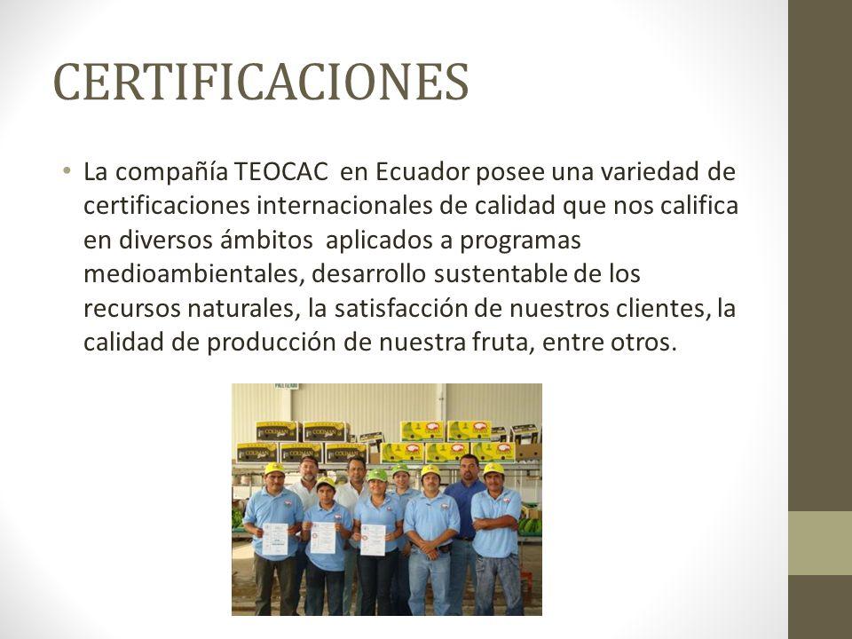 CERTIFICACIONES La compañía TEOCAC en Ecuador posee una variedad de certificaciones internacionales de calidad que nos califica en diversos ámbitos aplicados a programas medioambientales, desarrollo sustentable de los recursos naturales, la satisfacción de nuestros clientes, la calidad de producción de nuestra fruta, entre otros.