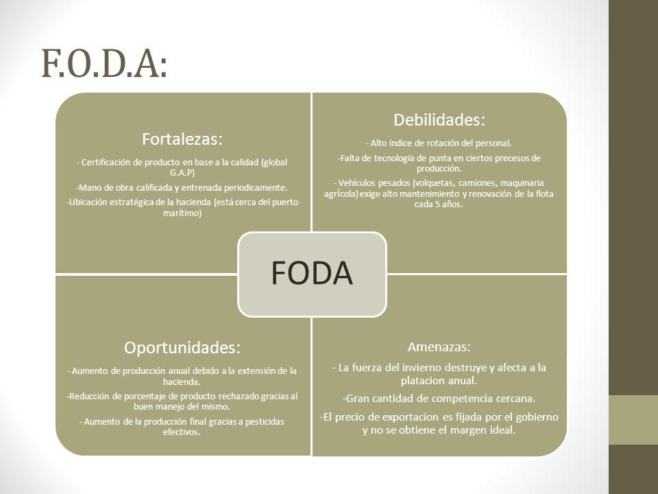 F.O.D.A: Fortalezas: - Certificación de producto en base a la calidad (global G.A.P) -Mano de obra calificada y entrenada periodicamente.