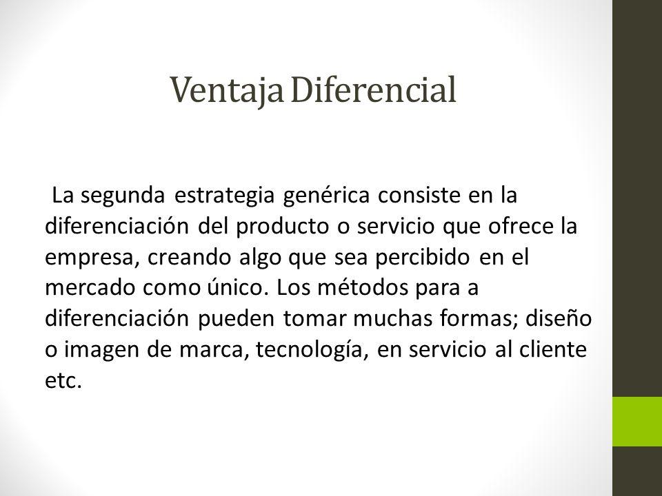Ventaja Diferencial La segunda estrategia genérica consiste en la diferenciación del producto o servicio que ofrece la empresa, creando algo que sea percibido en el mercado como único.