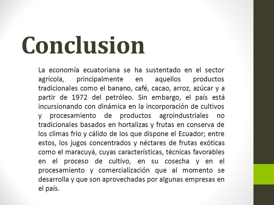 Conclusion La economía ecuatoriana se ha sustentado en el sector agrícola, principalmente en aquellos productos tradicionales como el banano, café, cacao, arroz, azúcar y a partir de 1972 del petróleo.