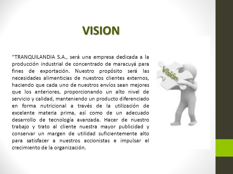 TRANQUILANDIA S.A., será una empresa dedicada a la producción industrial de concentrado de maracuyá para fines de exportación.