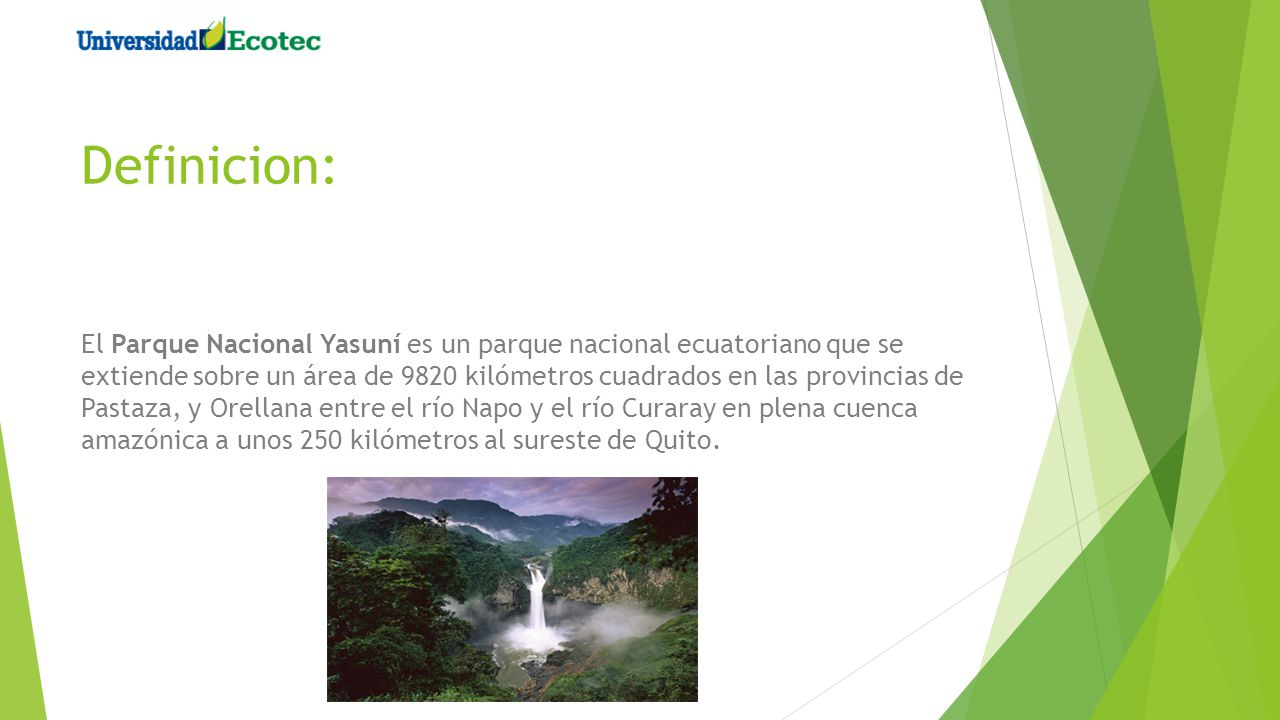 Definicion: El Parque Nacional Yasuní es un parque nacional ecuatoriano que se extiende sobre un área de 9820 kilómetros cuadrados en las provincias d