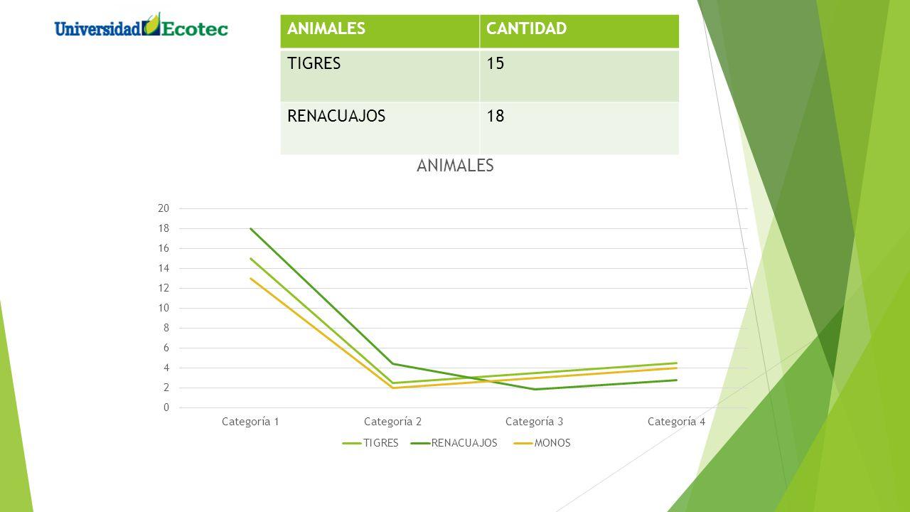 ANIMALESCANTIDAD TIGRES15 RENACUAJOS18