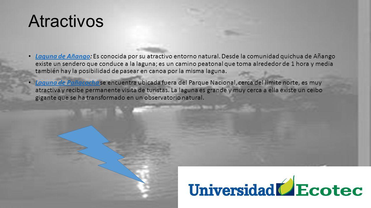Atractivos Laguna de Añango: Es conocida por su atractivo entorno natural. Desde la comunidad quichua de Añango existe un sendero que conduce a la lag