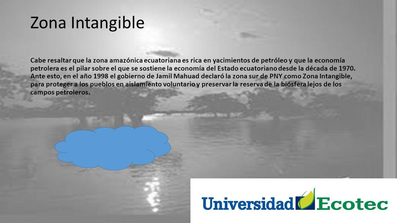 Zona Intangible Cabe resaltar que la zona amazónica ecuatoriana es rica en yacimientos de petróleo y que la economía petrolera es el pilar sobre el qu