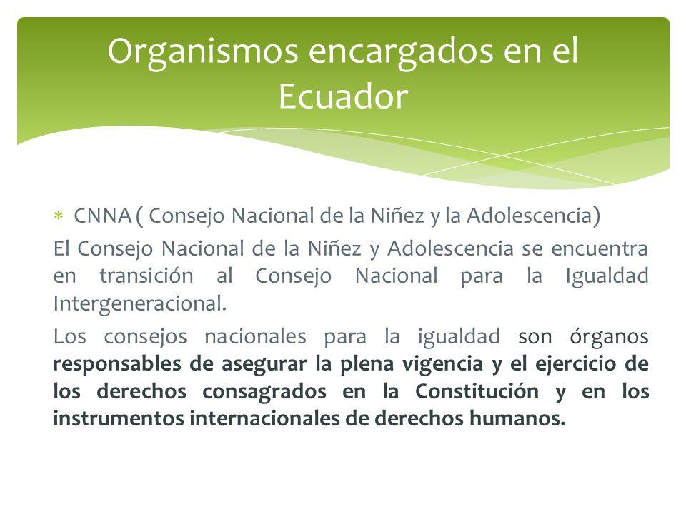 CNNA ( Consejo Nacional de la Niñez y la Adolescencia) El Consejo Nacional de la Niñez y Adolescencia se encuentra en transición al Consejo Nacional para la Igualdad Intergeneracional.