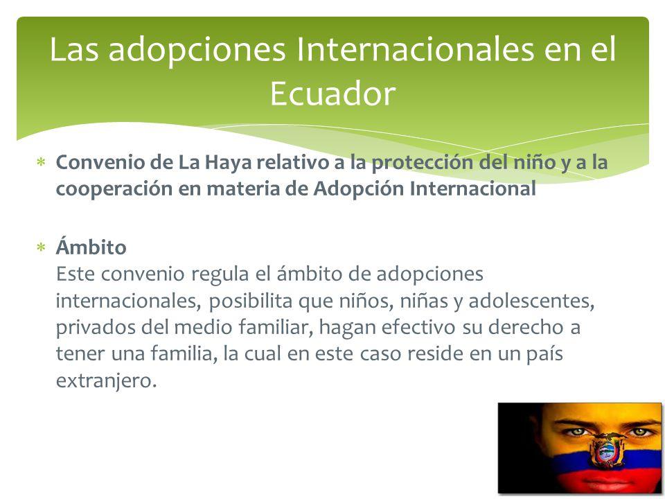 Convenio de La Haya relativo a la protección del niño y a la cooperación en materia de Adopción Internacional Ámbito Este convenio regula el ámbito de adopciones internacionales, posibilita que niños, niñas y adolescentes, privados del medio familiar, hagan efectivo su derecho a tener una familia, la cual en este caso reside en un país extranjero.