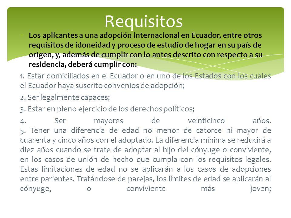 Los aplicantes a una adopción internacional en Ecuador, entre otros requisitos de idoneidad y proceso de estudio de hogar en su país de origen, y, además de cumplir con lo antes descrito con respecto a su residencia, deberá cumplir con: 1.
