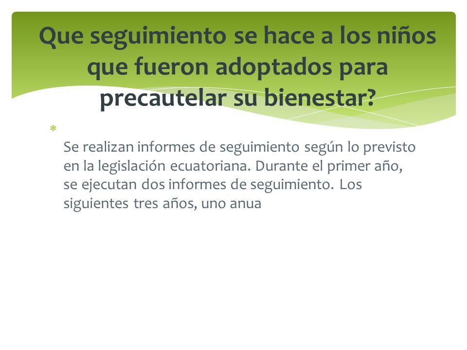 Se realizan informes de seguimiento según lo previsto en la legislación ecuatoriana. Durante el primer año, se ejecutan dos informes de seguimiento. L