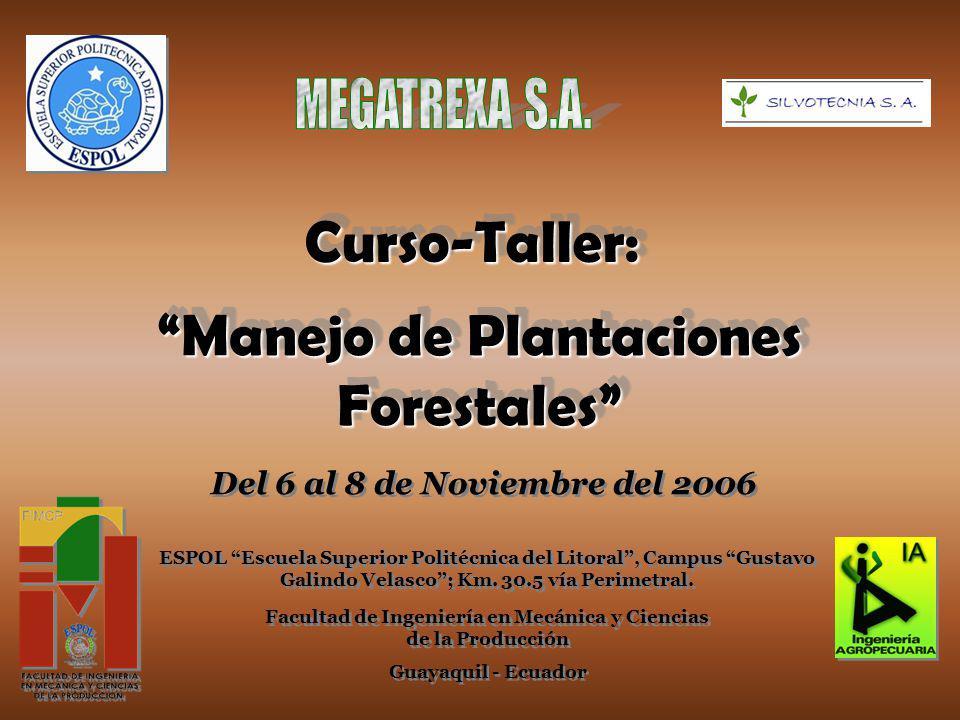 Manejo de Plantaciones Forestales Curso-Taller:Curso-Taller: Del 6 al 8 de Noviembre del 2006 ESPOL Escuela Superior Politécnica del Litoral, Campus Gustavo Galindo Velasco; Km.
